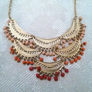 Gold Tone Beaded Filigree Boho Ethnic Necklace